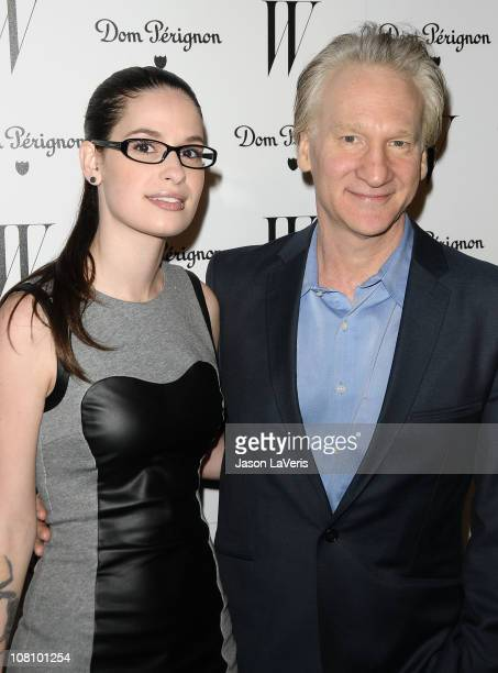 Comedian Bill Maher and Cara Santa Maria attend the W Magazine Golden Globe party at Chateau Marmont on January 14 2011 in Los Angeles California