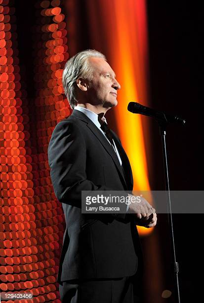 Comedian Bill Maher speaks onstage at 2011 MusiCares Person of the Year Tribute to Barbra Streisand at Los Angeles Convention Center on February 11,...