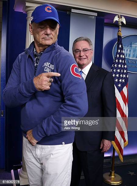 Comedian Bill Murray gestures as he visits the James Brady Press Briefing Room at the White House October 21 2016 in Washington DC Murray is in...