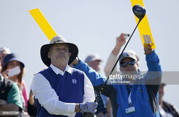 Comedian Bill Murray reacts after teeing off on the 18th hole during the 3M Celebrity Challenge prior to the ATT Pebble Beach National ProAm at...