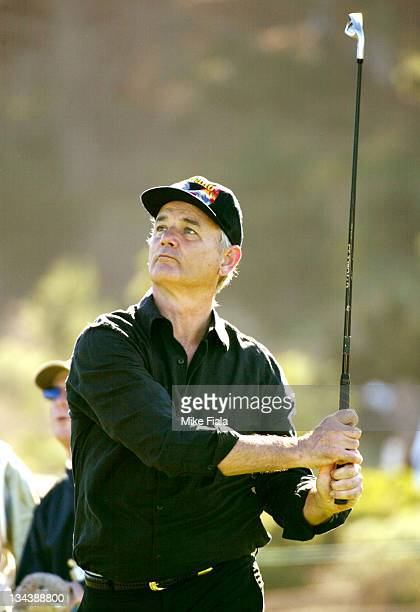 Comedian Bill Murray teesoff on the 5th hole at Spyglass Hill golf course during the ATT Pebble Beach National ProAm golf tournament in Pebble Beach...