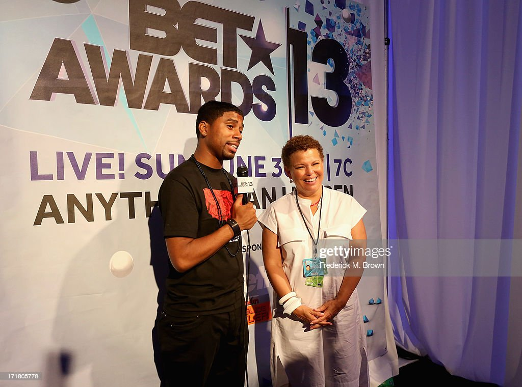 Comedian Billy Sorrells (L) and Chairman and Chief Executive Officer of BET Debra L. Lee attend Radio Room Day 1 during the 2013 BET Awards at JW Marriott Los Angeles at L.A. LIVE on June 28, 2013 in Los Angeles, California.