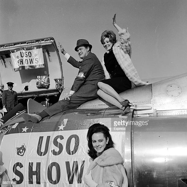 US comedian Bob Hope with Jill St John and Ann Sidney stars of his Christmas show for US troops stationed in the Far East