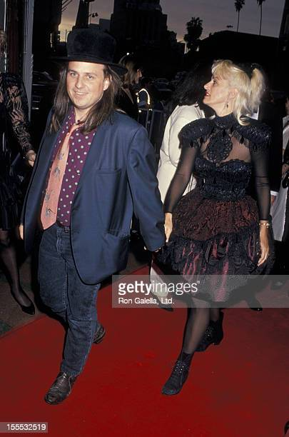 Comedian Bobcat Goldthwait and wife Ann Luly attend 11th Annual Ace Awards on January 14 1990 at the Wiltern Theater in Los Angeles California