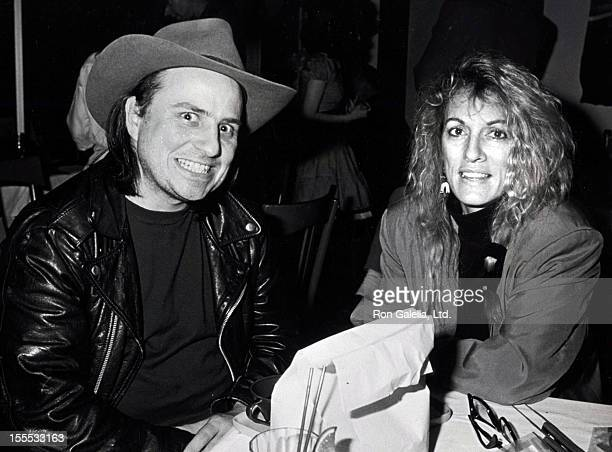Comedian Bobcat Goldthwait and wife Ann Luly attend Lace Organiz Benefit on February 14 1989 at the City Restaurant in Los Angeles California