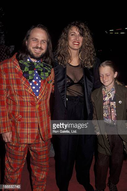 Comedian Bobcat Goldthwait wife Ann Luly and son Tyler Goldthwait attend the screening of Shakes The Clown on March 11 1992 at the Academy Theater in...