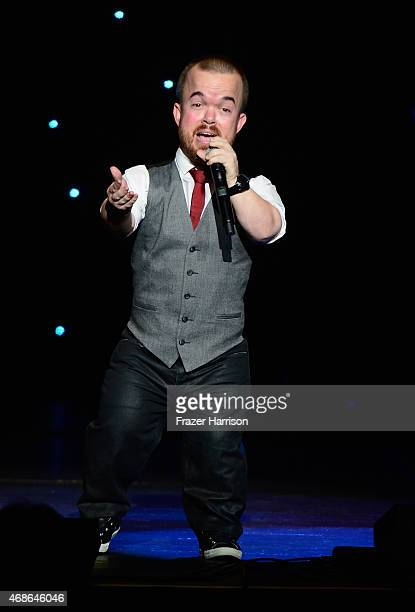 Comedian Brad Williams performs at KROQ Presents Kevin Bean's April Foolishness at The Shrine Auditorium on April 4 2015 in Los Angeles California