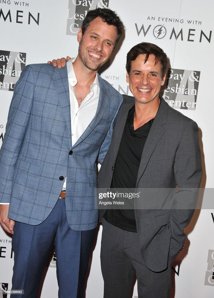 Comedian Brian McDaniel and actor Christian Le Blanc arrive at the L.A. Gay & Lesbian Center's 2013 'An Evening With Women' Gala at The Beverly Hilton Hotel on May 18, 2013 in Beverly Hills, California.
