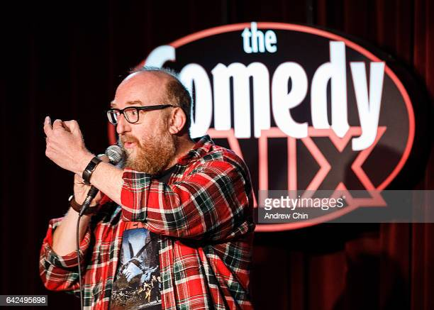 Comedian Brian Posehn performs on stage during JFL NorthWest at The Comedy Mix on February 17 2017 in Vancouver Canada