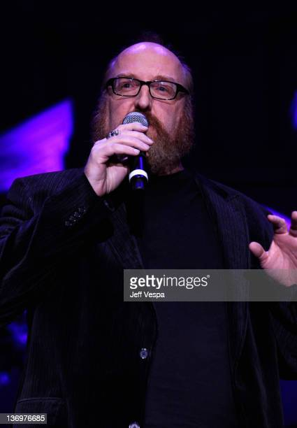 """Comedian Brian Posehn speaks onstage at """"Hilarity For Charity"""" To Benefit The Alzheimer's Association at Vibiana on January 13, 2012 in Los Angeles,..."""