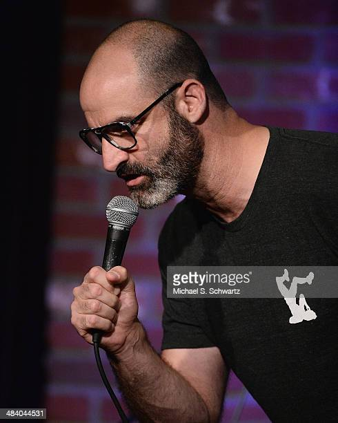 Comedian Brody Stevens performs during his attendance at the 4th Annual Laugh For Sight LA AllStar Comedy Benefit at The Hollywood Improv on April 10...
