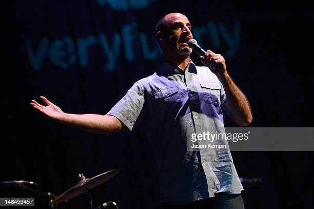 Comedian Brody Stevens performs onstage at Jeff Ross Roasts Chicago during TBS Just For Laughs Chicago 2012 presented by State Farm at Park West on...