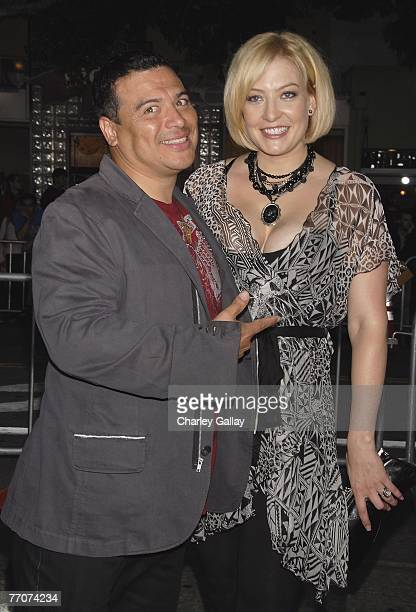 Comedian Carlos Mencia and wife Amy arrive at the premiere of Dreamworks' 'The Heartbreak Kid' at Mann's Village Theater on September 27 2007 in Los...