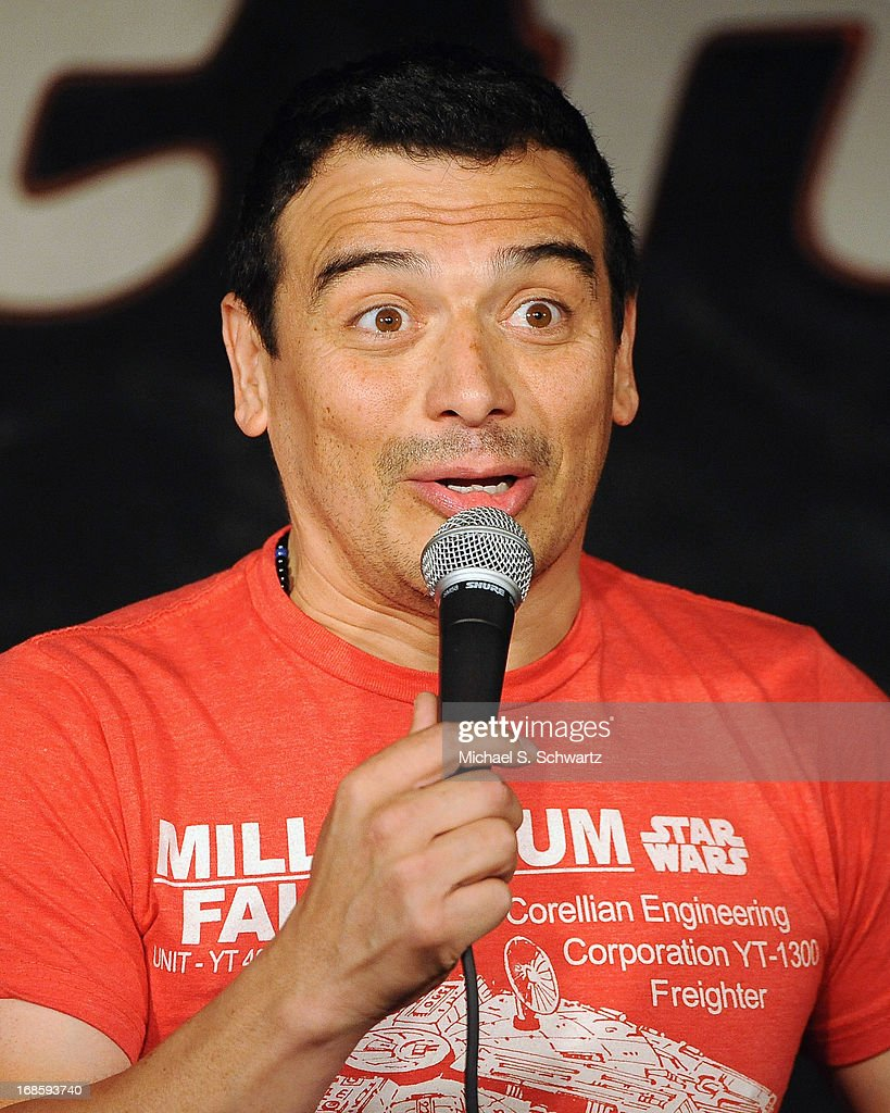Comedian Carlos Mencia performs during his appearance at The Ice House Comedy Club on May 11, 2013 in Pasadena, California.