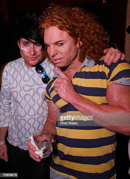 Comedian Carrot Top and an unidentified guest attend Jaime Pressly's 30th birthday party inside the Pussycat Dolls Lounge at PURE Nightclub on July...