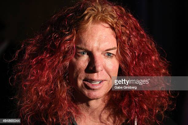 Comedian Carrot Top unveils a sculpture of a shrunken head in his likeness at The Golden Tiki that was created for the bar's cabinet of curiosities...