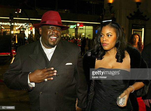 Comedian Cedric the Entertainer and wife Lorna Wells walk on the red carpet during MGM's premiere of Be Cool at Grauman's Chinese Theatre on February...