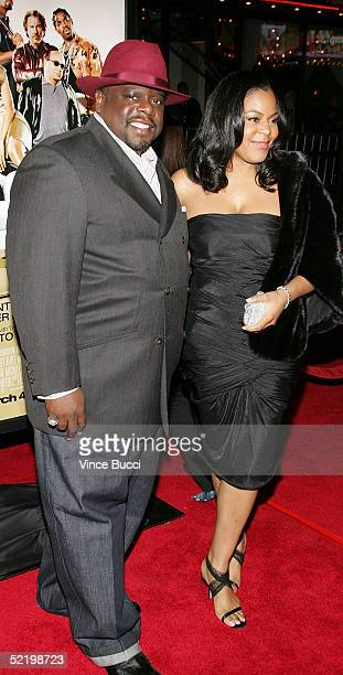 Comedian Cedric the Entertainer and wife Lorna Wells walks on the red carpet during MGM's premiere of Be Cool at Grauman's Chinese Theatre on...
