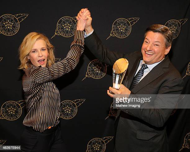 Comedian Chelsea Handler and Netflix Chief Content Officer Ted Sarandos pose with the Television Showmanship Award backstage at the 52nd Annual ICG...