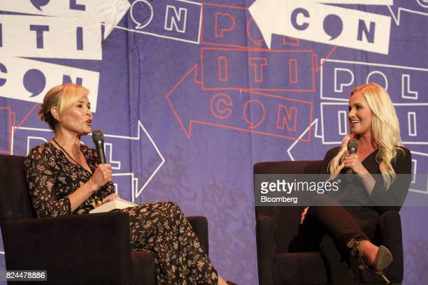 Comedian Chelsea Handler left and political commentator Tomi Lahren participate in a panel discussion during the Politicon convention inside the...
