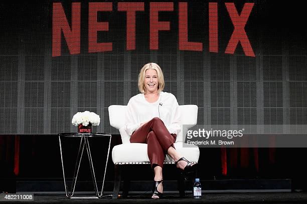 Comedian Chelsea Handler speaks onstage during the Chelsea Does panel discussion at the Netflix portion of the 2015 Summer TCA Tour at The Beverly...