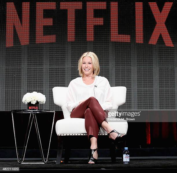Comedian Chelsea Handler speaks onstage during the 'Chelsea Does' panel discussion at the Netflix portion of the 2015 Summer TCA Tour at The Beverly...