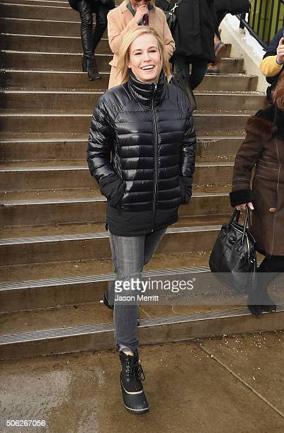 Comedian Chelsea Handler wears Sorels around Park City on January 22 2016 in Park City Utah