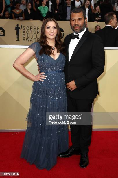 Comedian Chelsea Peretti and actor/director Jordan Peele attend the 24th Annual Screen Actors Guild Awards at The Shrine Auditorium on January 21...