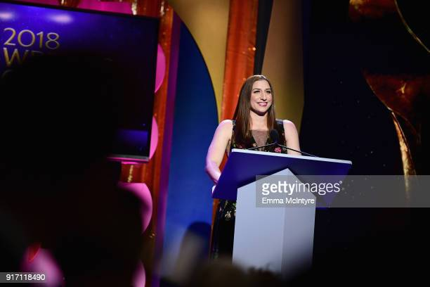 Comedian Chelsea Peretti speaks onstage during the 2018 Writers Guild Awards LA Ceremony at The Beverly Hilton Hotel on February 11 2018 in Beverly...