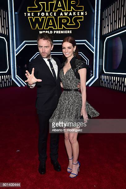 """Comedian Chris Hardwick and actress Lydia Hearst attend the World Premiere of """"Star Wars The Force Awakens"""" at the Dolby El Capitan and TCL Theatres..."""