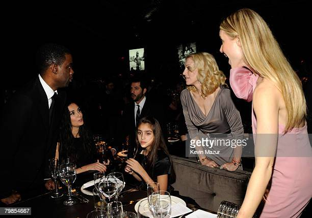 NEW YORK FEBRUARY 06 Comedian Chris Rock Actress Demi Moore Lourdes Leon Madonna and Actress Gwyneth Paltrow inside Madonna and Gucci Host A Night to...