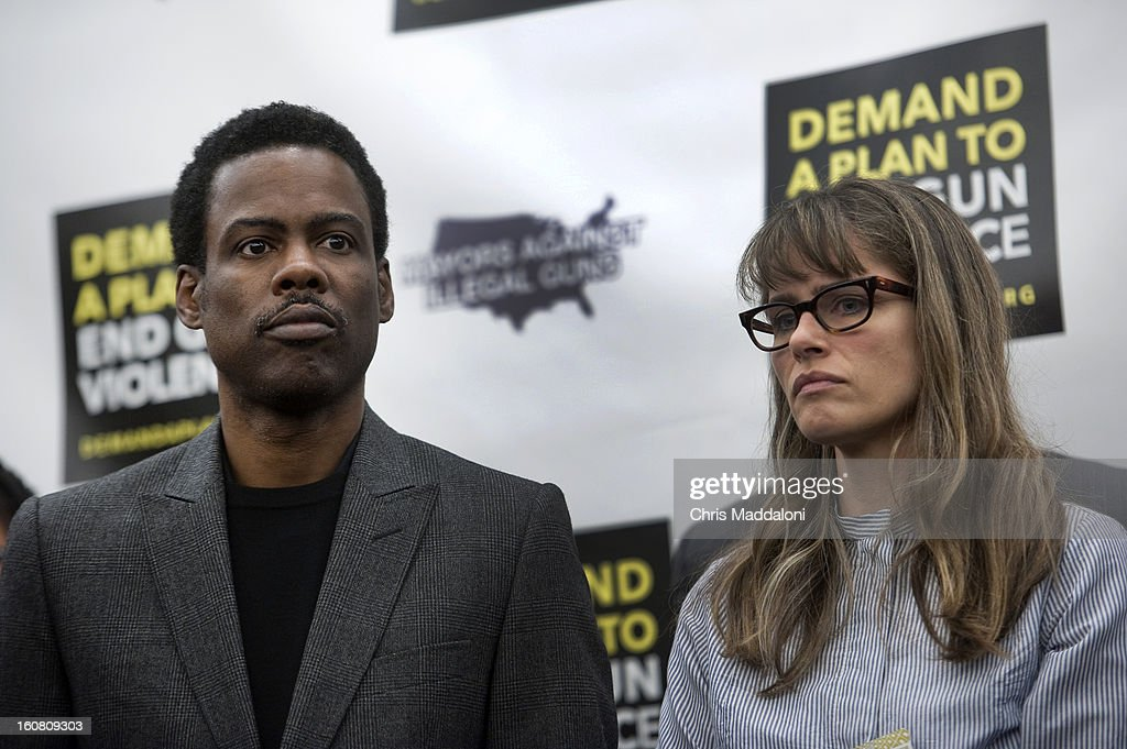 Comedian Chris Rock and actor Amanda Peet speak at a press conference at the U.S. Capitol to call on Congress to act on President Obama's plan to reduce gun violence, including background checks for all gun sales and an assault weapons ban.