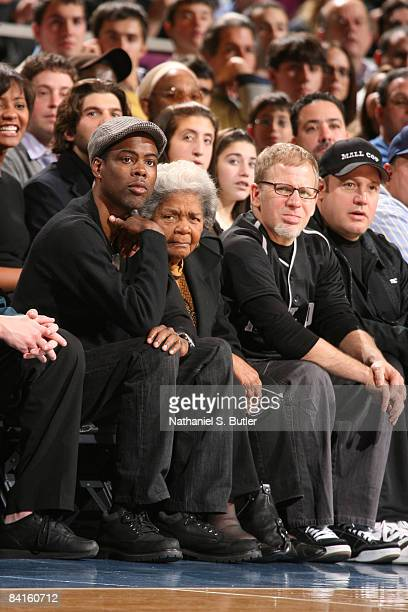 Comedian Chris Rock and actor Kevin James watch the New York Knicks play the Indiana Pacers on January 2 2009 at Madison Square Garden in New York...