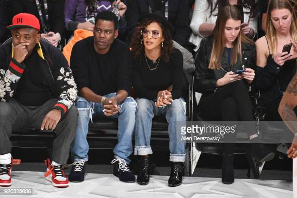 Comedian Chris Rock and actress Megalyn Echikunwoke attend The 67th NBA AllStar Game Team LeBron Vs Team Stephen at Staples Center on February 18...