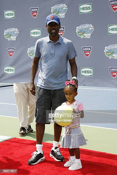 Comedian Chris Rock and daughter Zahra Savannah during the 2007 Arthur Ashe Kids' Day Presented by Hess at the USTA Billie Jean King National Tennis...