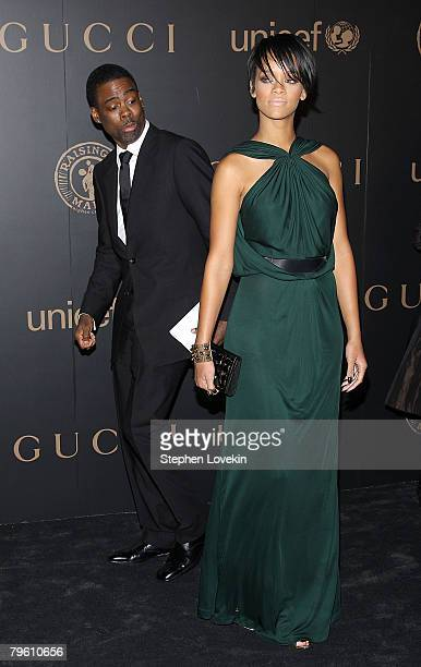 Comedian Chris Rock and singer Rihanna attends a reception to benefit UNICEF hosted by Gucci during MercedesBenz Fashion Week Fall 2008 at The United...