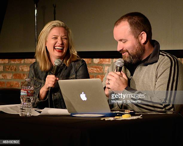 Comedian Christina Pazsitzky and comedian Tom Segura doing the Your Mom's House podcast at The Ice House Comedy Club on February 14 2015 in Pasadena...