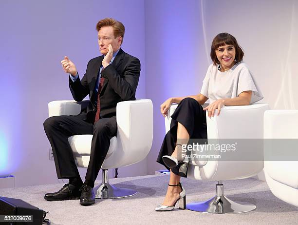 Comedian Conan O'Brien and actress Rashida Jones speak onstage during TBS Night Out at The New Museum on May 17 2016 in New York City