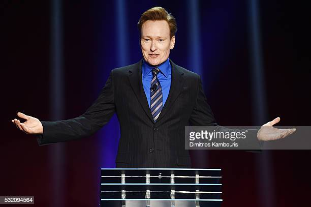 Comedian Conan O'Brien appears on stage during the Turner Upfront 2016 show at The Theater at Madison Square Garden on May 18 2016 in New York City