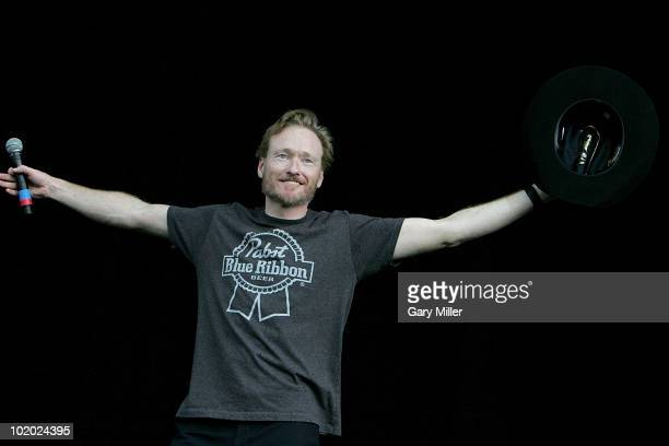 Comedian Conan O'Brien introduces The Dead Weather during day 3 of the Bonnaroo Music and Arts Festival at the Bonnaroo Festival Grounds on June 12...