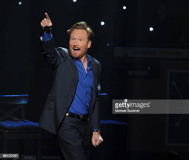 """Comedian Conan O'Brien performs at the opening night of """"The Legally Prohibited From Being Funny On TV Tour"""" at the Hult Center for the Performing..."""