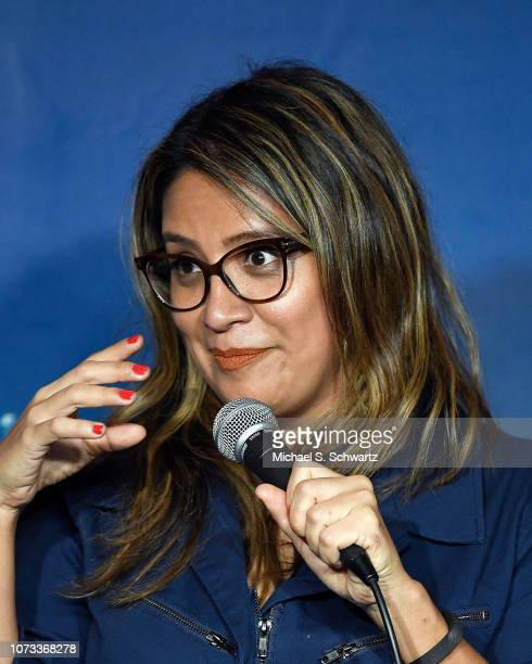 Comedian Cristela Alonzo performs during her appearance at The Ice House Comedy Club on December 14 2018 in Pasadena California