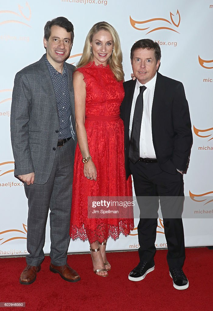 Comedian Dan Naturman, actors Tracy Pollan and Michael J. Fox attend the 2016 A Funny Thing Happened On The Way To Cure Parkinson's at The Waldorf Astoria on November 12, 2016 in New York City.