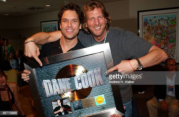 Comedian Dane Cook and Barry Katz celebrate Dane Cook's gold record at the Madison Square Garden Theater on September 17 2005 in New York City
