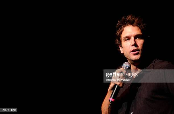 Comedian Dane Cook performs as he celebrates receiving a gold record at the Madison Square Garden Theater on September 17 2005 in New York City