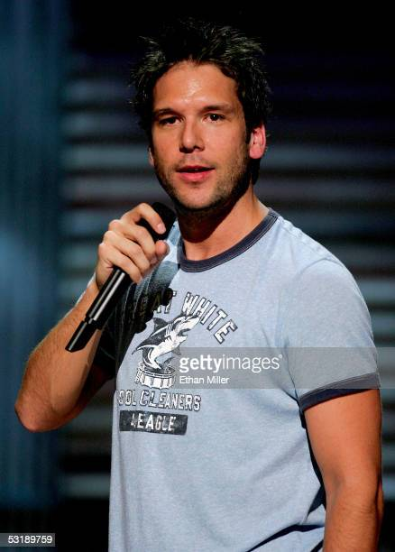 Comedian Dane Cook performs at the House of Blues inside the Mandalay Bay Resort Casino July 2 2005 in Las Vegas Nevada Comedy Central is shooting...