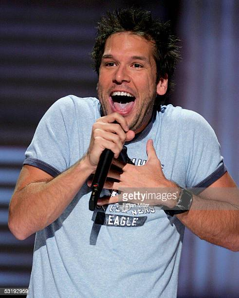 Comedian Dane Cook performs at the House of Blues inside the Mandalay Bay Resort Casino July 3 2005 in Las Vegas Nevada Comedy Central is shooting...