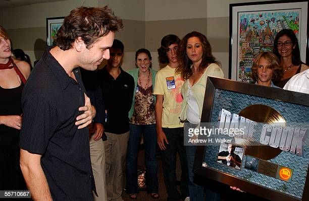Comedian Dane Cook receives his gold record at the Madison Square Garden Theater on September 17 2005 in New York City