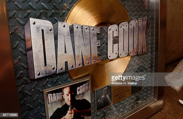 Comedian Dane Cook's gold record is seen at the Madison Square Garden Theater on September 17 2005 in New York City