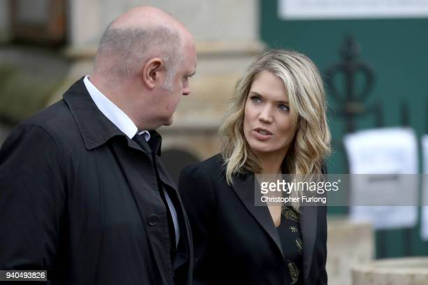 Comedian Dara O'Briain and TV Presenter Charlotte Hawkins leave Great St Mary's Church after the funeral service of British physicist Stephen Hawking...